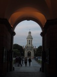 A view through the front gate toward the campanile