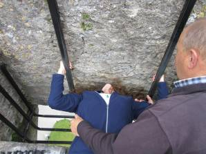 Erin kisses the Blarney Stone
