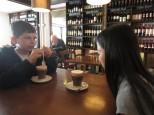 Enjoying Italian hot chocolate