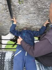 Abbie kisses the Blarney Stone