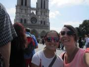 Mom and Abbie in the Notre Dame line