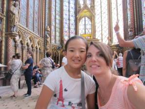 Abbie and Mom in Sainte Chapelle