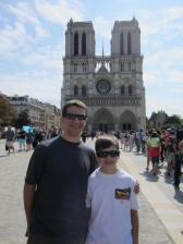 Dad and Jackson in the Notre Dame line